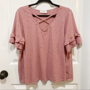 Janette Plus Distressed Blouse in Dusty Rose